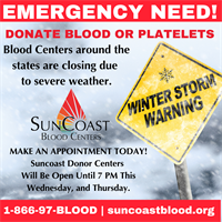 SunCoast Blood Center - Emergency Need for Blood Donations
