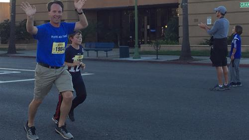 Our practicing owner, Skye Grayson, DPT, finishing up his leg of the Grape Day race