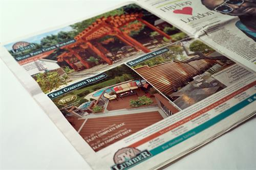 Design print ads for J&W Lumber