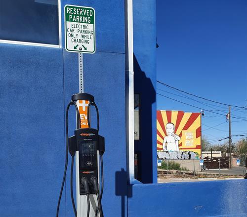 EV charging station in Nob Hill, ABQ