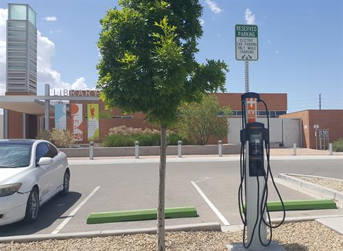 Central and Unser Library EV charging station