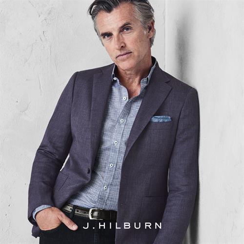 Purple Basketweave Solid Sportcoat, Navy/Lavender Cotton Linen Glen Plaid Custom Shirt $145, DL1961 Denim for JH $178, Black Leather Custom 30mm belt $130.,