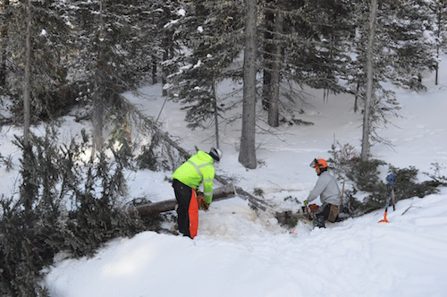 Creating a wider ski-in, ski-out access