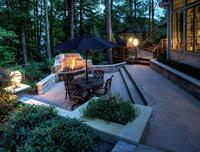 Deck and outdoor fireplace