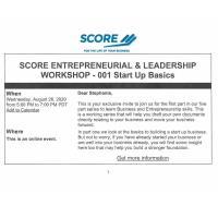 Score Entrepreneurial & Leadership Workshop 001 Start up Basics
