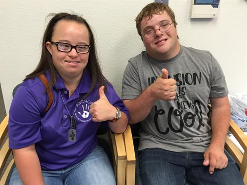 Chris and Jessica getting ready to speak with middle school students about disabilities