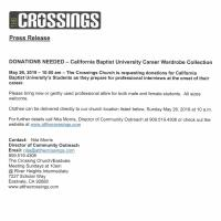 DONATIONS NEEDED – California Baptist University Career Wardrobe Collection