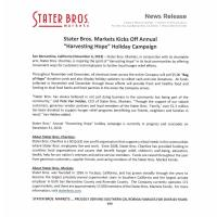 Stater Bros. Markets Kicks Off Annual ''Harvesting Hope'' Holiday Campaign