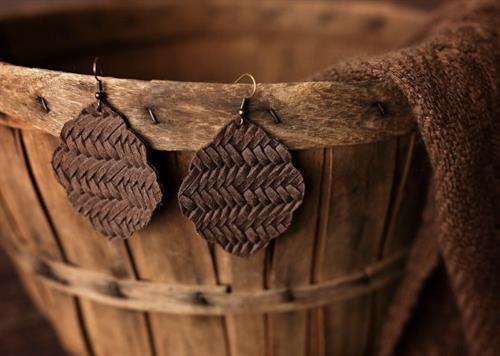Brown Basket Weave Genuine Leather Earrings