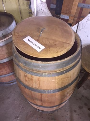 Wine Barrel Trash Cans