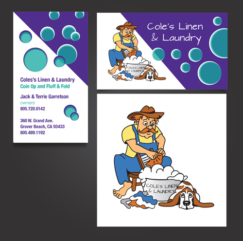 Illustration & Business Card Design, Cole's Linen & Laundry, Grover Beach