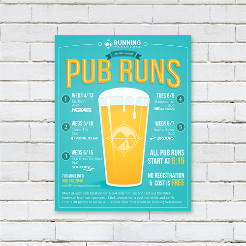 Pub Run Flyer for Running Warehouse, SLO