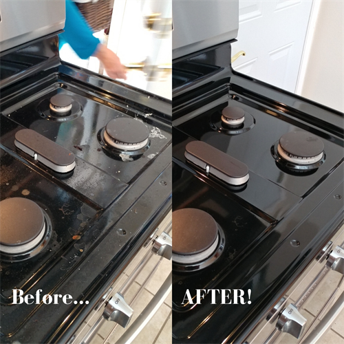 Clean greasy stoves with just water and a microfiber cloth