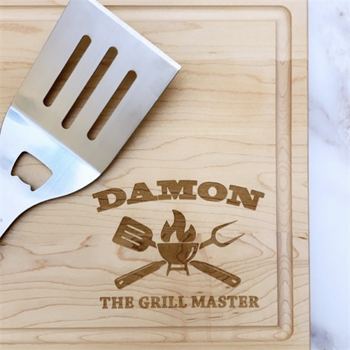 Custom Engraved Father's Day Cutting Board with Juice Groove