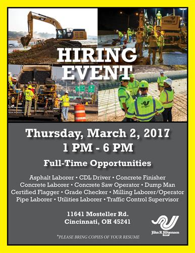HIRING EVENT!  3/2/17, SHARONVILLE, OH