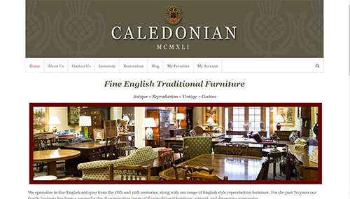 Website design, ecommerce store and mailing list management for Caledonian English Antiques in Barrington