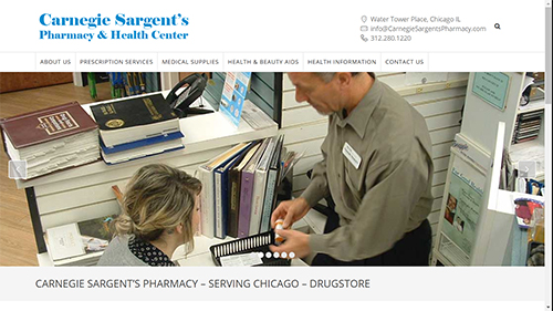 Website design and ecommerce store for Carnegie Sargent's Pharmacy in Chicago