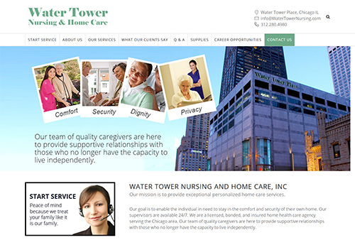 Website design, staffing application, mailing list management for Water Tower Nursing in Chicago