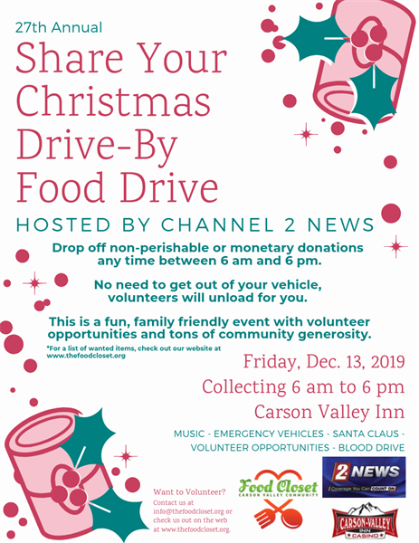 Christmas Blood Drive.27th Annual Share Your Christmas Food Drive Dec 13 2019