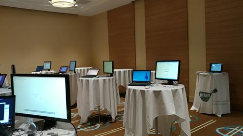 Laptop Stations for client do have one on one sales pitch at a convention.