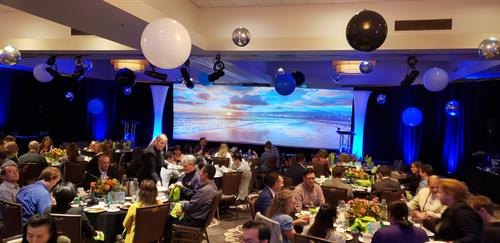 10'h x 30'w Projection Screen as a backdrop.