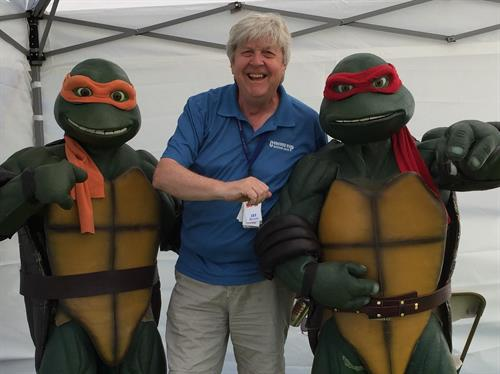 Producer Jay Bedecarre with Teenage Mutant Ninja Turtles at KidFest.