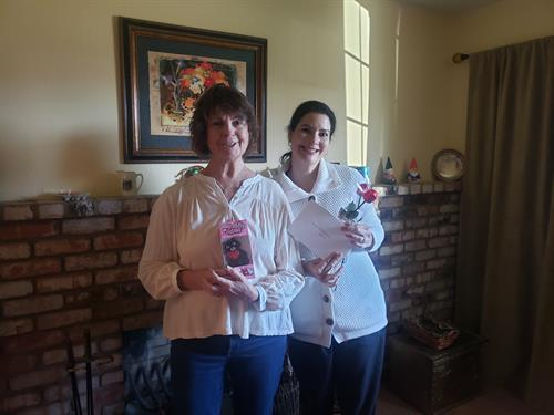 Delivering Valentine's to clients and caregiver