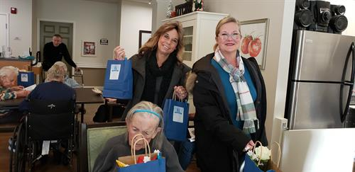 Delivering holiday packages to local rehab centers