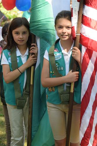 Girls Scouts as Color Guard for annual July 4th Naturalization Ceremony in Northampton