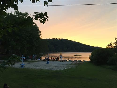 Sunset over our volleyball court