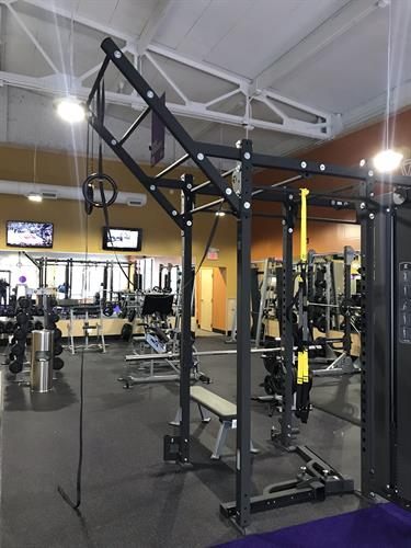 The Rack and Free Weight Area