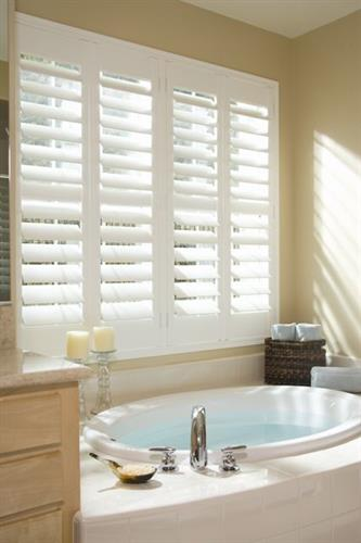 Composite Shutters! They can resist high moisture areas like bathrooms while bestowing timeless elegance!