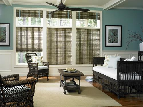 Looking for eco-friendly window treatments? Our woven wood shades are made from natural materials like jute and bamboo!