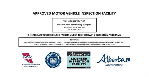 Canadian Auto Remarketing in St Albert, AB. Is a Licensed Out-of-Province inspection facility by Alberta Transportation Vehicle Inspection Program. Specializing in Out of province inspections, Uber Vehicle Inspection, Complete mechanical Automotive service, AMVIC Inspections, Warranty Inspection, Insurance Inspections, Buyer/Seller inspections, Safety Inspections, Tires, wheels, and Alignments and more.  Our Technicians are licensed by Alberta Transportation's Vehicle Inspection Program (VIP).