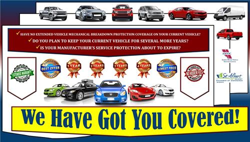 Is your manufacturer's service protection about to expire? Have no extended vehicle mechanical breakdown protection coverage on your current vehicle? Do you plan to keep your vehicle for several more years?