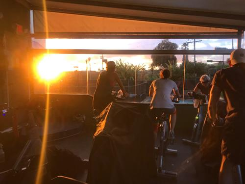 Spin into the sunset on our Upper Deck Spin Studio!