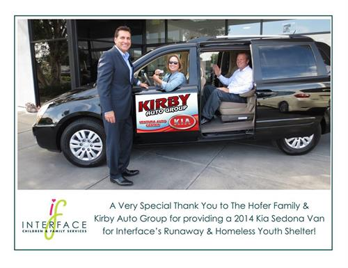 Kirby Auto Group donates van to Interface Children's and Family Services