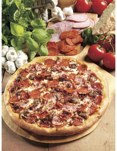 All Meat - Pepperoni, ham, Italian sausage, bacon, our original sauce, and signature three cheeses
