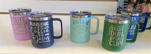 Custom Insulated Coffee Cups - Coffee is Hot for Hours! FREE ENGRAVING