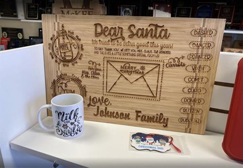 Santa Cookie Board w/ Mug, Ornament, and Personal Letter from Santa - FREE ENGRAVING