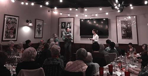 IVRT's reading of the play SIX DANCE LESSONS IN SIX WEEKS at Eddie's Italian Eatery, 2016.