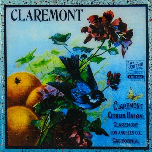 Coaster made from Antique Claremont Citrus Crate Label