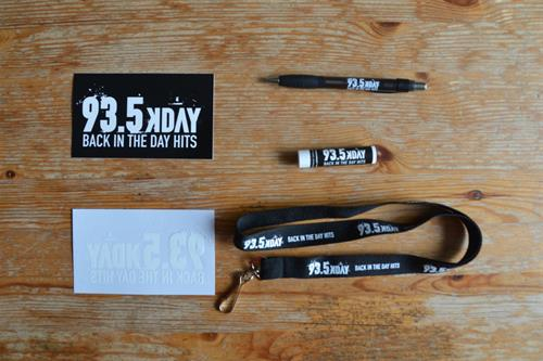 Promotional items for the street team at 93.5 K-day