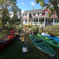 Kayaks, paddle boat and row boat available to use.