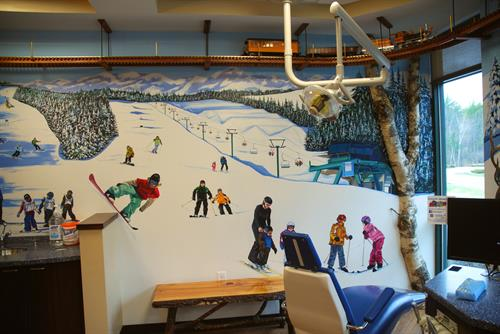 Gunstock mountain hand painted mural.