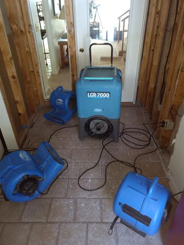 Drying an area after a burst pipe