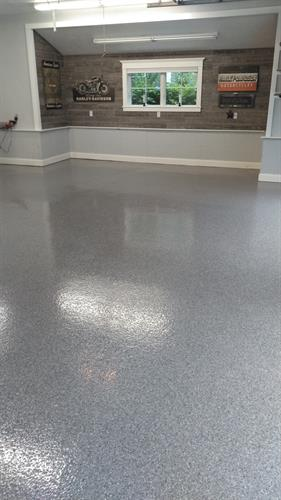 Garage epoxy flake floor for our great clients on Meredith Neck