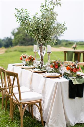 Styled photo table design at Canterbury Shaker Village for Lakes Region Bride; Lakes Region Tent & Event linens/rentals; Lakes Region Floral Studio; Erika Follansbee Photo