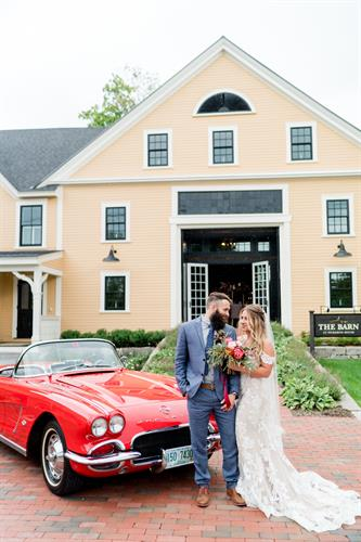 Style shoot for Lakes Region Bride at Pickering House, Wolfeboro, Rodeo & Co Photo; red sports car from Sutton Luxury Limo