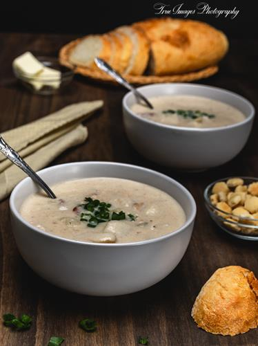 Fish chowder with country Italian loaf